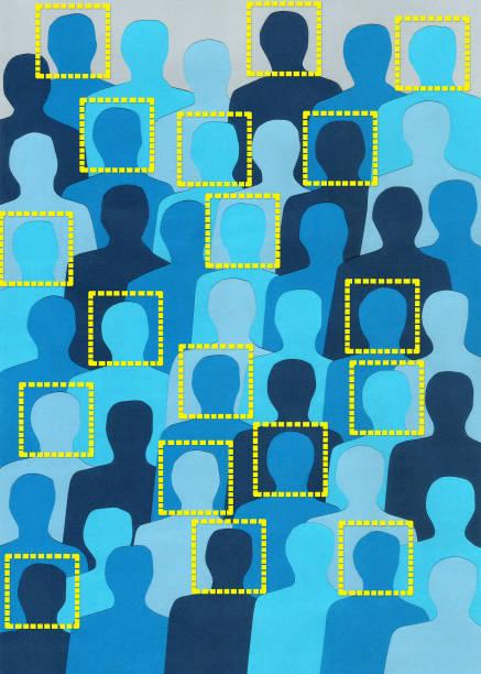 facially recognized blue men - facial recognition stock illustrations