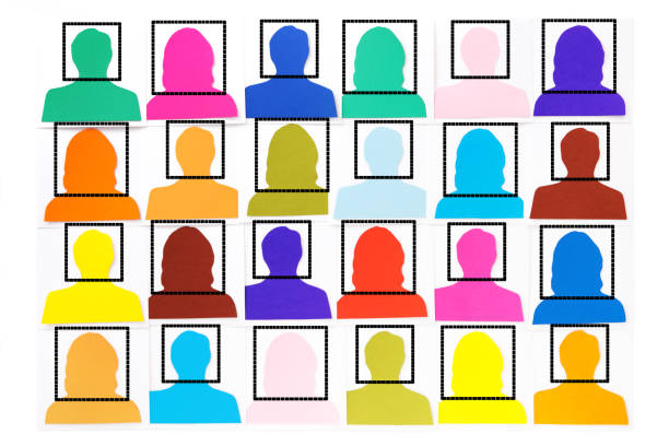 facially recognized crowd - facial recognition stock illustrations