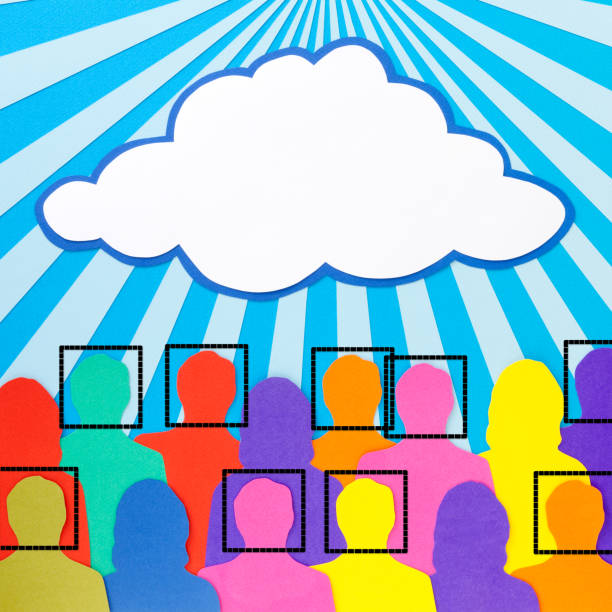 facially recognized men under a cloud - facial recognition stock illustrations