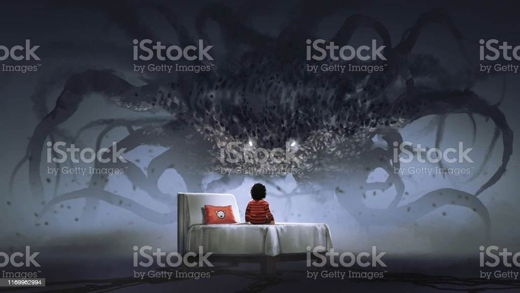 facing a nightmare monster nightmare concept showing a boy on the bed facing a giant monster in the dark land, digital art style, illustration painting Alien stock illustration