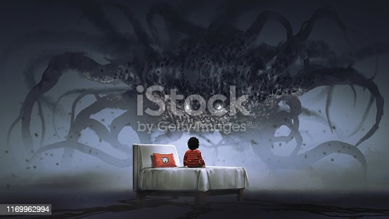 nightmare concept showing a boy on the bed facing a giant monster in the dark land, digital art style, illustration painting