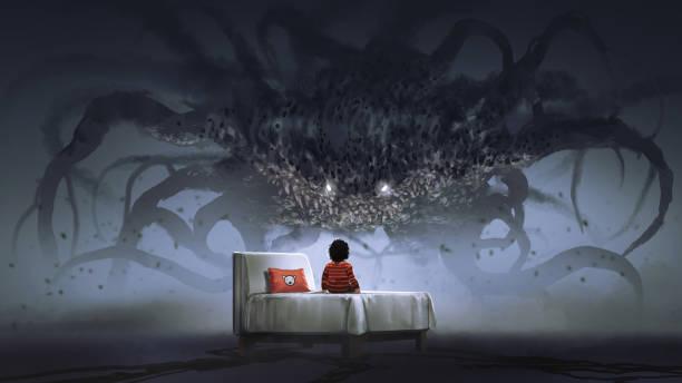 ilustraciones, imágenes clip art, dibujos animados e iconos de stock de frente a un monstruo pesadilla - aparición conceptos