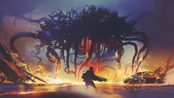 facing the alien creature vector art illustration