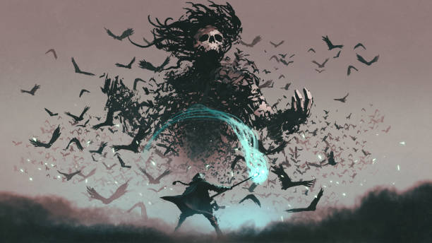 facing the devil of crows fight scene of the man with magic wizard staff and the devil of crows, digital art style, illustration painting dreamlike stock illustrations