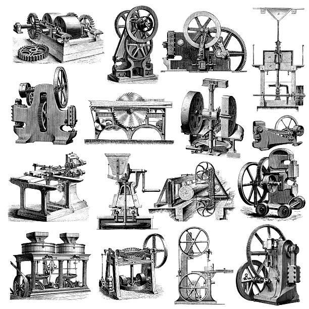 stockillustraties, clipart, cartoons en iconen met factory machine and industrial equipment illustrations | industry manufacturing clipart - uitvinding