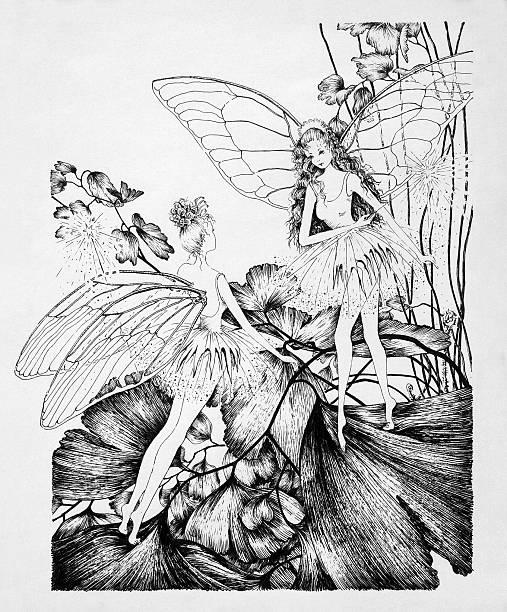 Fairies on Clover Leaf Original Artwork vector art illustration