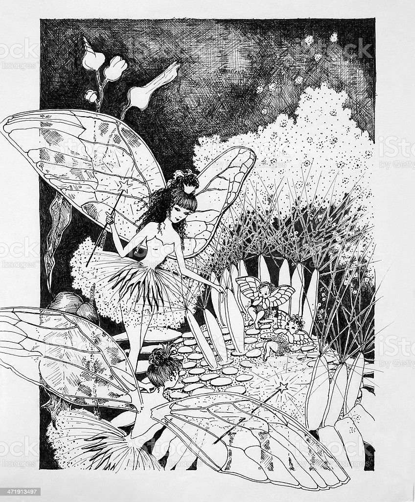 Fairies with Babies on a Dandelion Original Artwork vector art illustration