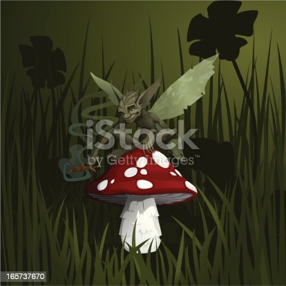 Tiny fairy relaxing on a toadstool with a fat cigar. Vector illustration with hi-res .jpg.