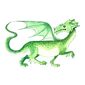 Fairy green dragon with wings isolated on white background. Hand drawn watercolor illustration.