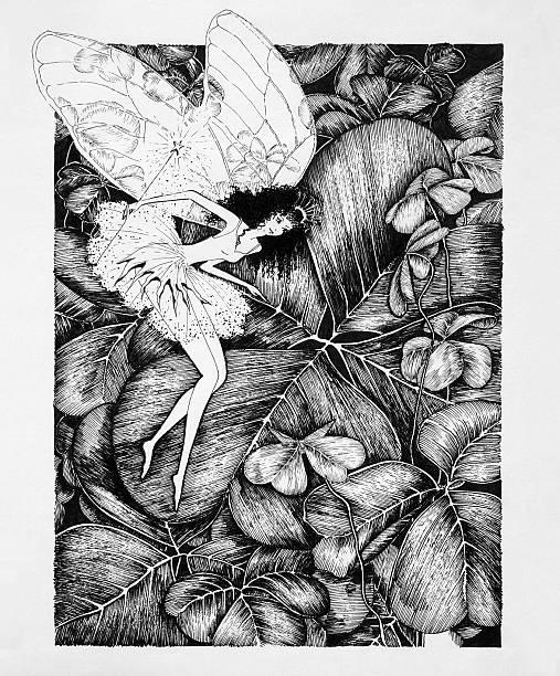 Fairy on Clover Leaf Original Artwork vector art illustration