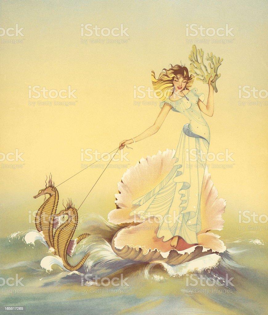 Fairy Riding a Seashell with Seahorses royalty-free stock vector art