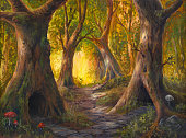 fairy tale forest, acrylic painting on watercolor paper