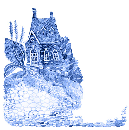 Fairy tale old country house and bush of goose grass. Blue Watercolor painting on contour doodle sketch on the white background with space for text. Tee-shirt print, café menu brochure cover