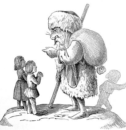 Fairy tale Pelzemärtel: Huge man in fur coat and hat talking to boy and girl