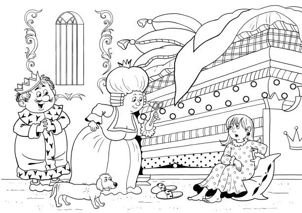 princess and the pea illustrations royaltyfree vector