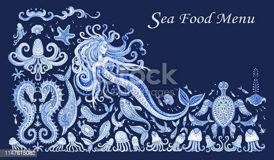 Fairy tale sea animals, fish and beautiful mermaid. Watercolor painting fantasy elements isolated on a dark indigo blue background. Sea food menu decor, tee shirt print, greeting card, invitation