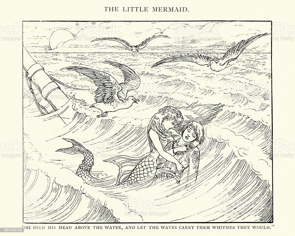 Fada tale-The Pequeno Sereia - ilustração de arte em vetor