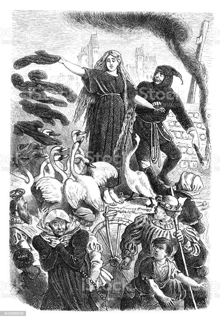 Fairy tale the wild swans from Hans Christian Andersen 1873 vector art illustration