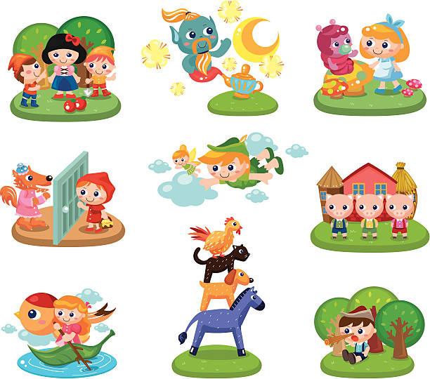 "Fairy tales ""set of 9 Fairy tales scene,vector illustration"" peter pan stock illustrations"