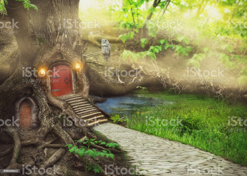 Fairy tree house in fantasy forest vector art illustration