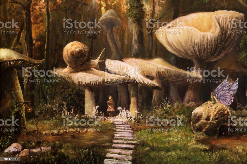 Fairyland, oil painting vector art illustration