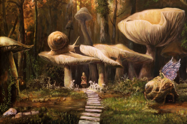 Fairyland, oil painting Fairyland, oil painting dreamlike stock illustrations