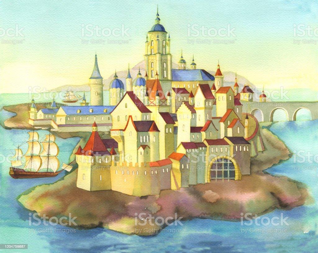 おとぎ話の城中世の王子の宮殿はおとぎ話を説明するためにヨーロッパの