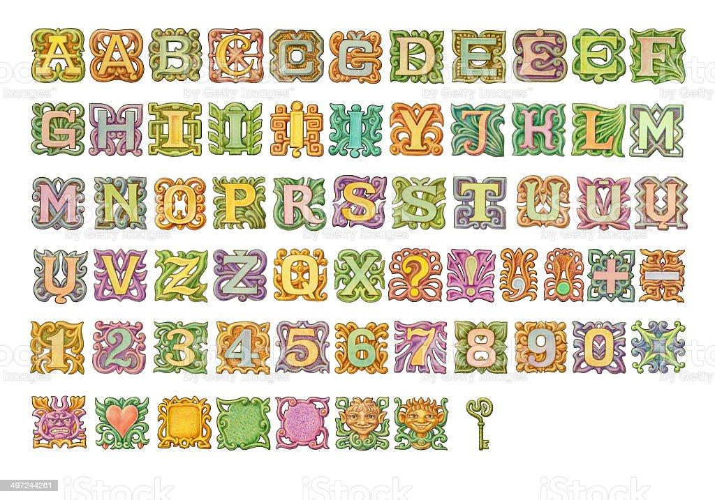 Fairy-tale colorful alphabet painting. Isolated on white vector art illustration