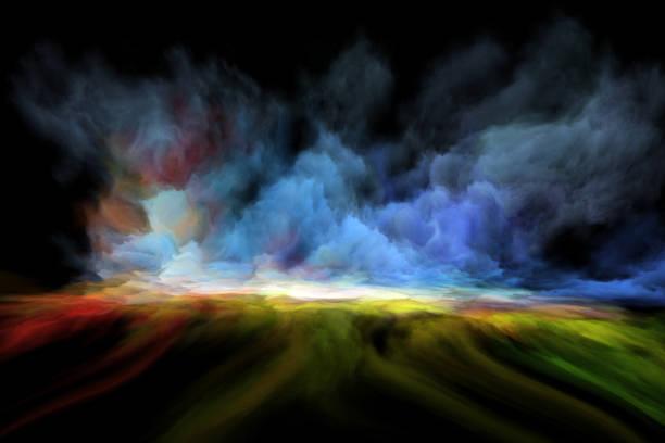 fairytale landscape in oil painting vector art illustration