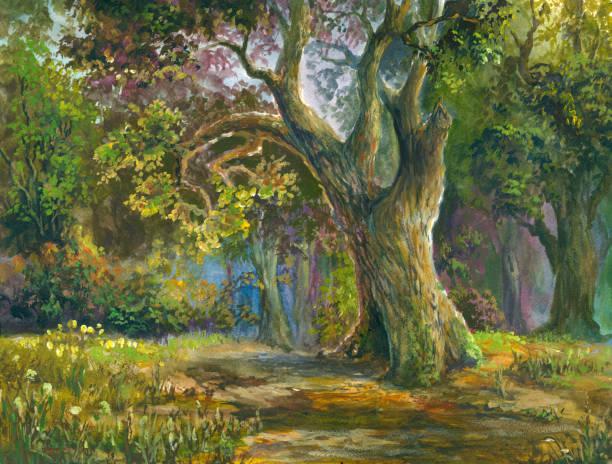 fairytale oak vector art illustration