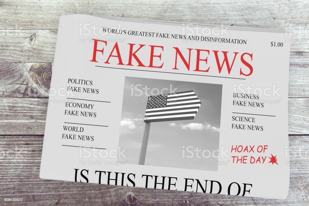 Fake News US Concept: Newspaper Front Page, 3d illustration vector art illustration