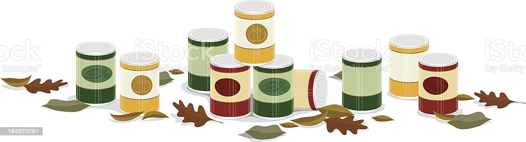 fall canned goods banner a vector banner of canned goods with fall leaves Autumn stock vector