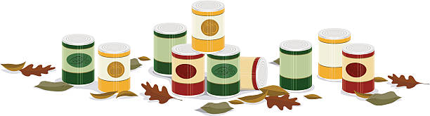 fall canned goods banner a vector banner of canned goods with fall leaves food drive stock illustrations