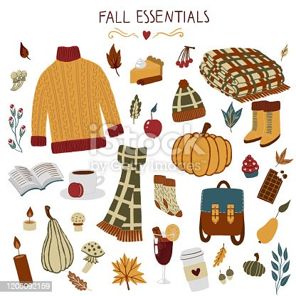 fall essentials hand drawn autumn objects with sweater, scarf, blanket, leaf, backpack, coffee, glint wine, pumpkins, pumpkin pie, hat, boots, berries, chocolate, book, mushrooms, cupcake, socks, acorns, gourd, candle etc. cozy handdrawn thanksgiving illustration for scrapbook, stationary, arts and crafts etc.