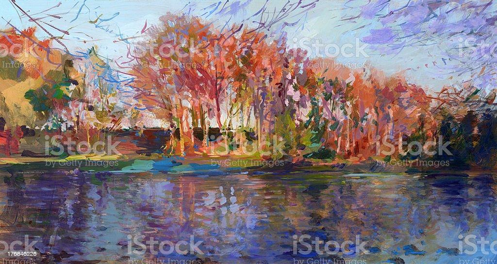 fall landscape painting vector art illustration