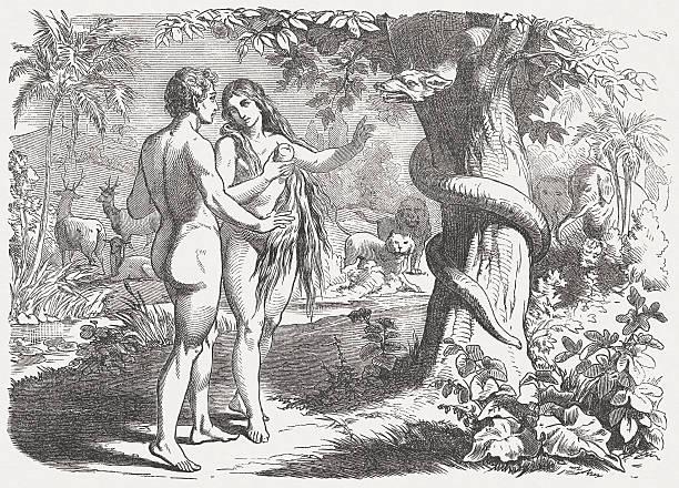 Fall of man (Genesis 3, 6), wood engraving, published 1877 vector art illustration