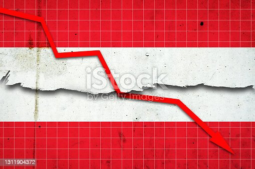 istock Fall of the Austria Economy. Recession graph with a red arrow on the Austria flag. Economic decline. Decline in the economy of stock trading. Downward trends in the economy. 1311904372