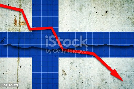 istock Fall of the Finland Economy. Recession graph with a red arrow on the Finland flag. Economic decline. Decline in the economy of stock trading. Downward trends in the economy. 1311904379