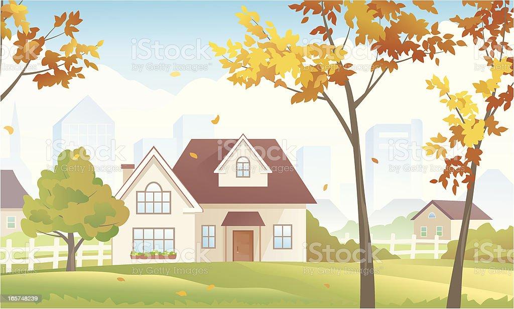 Fall suburb vector art illustration