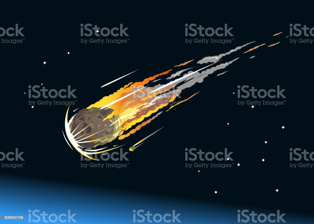 Falling Asteroid Into Atmosphere vector art illustration