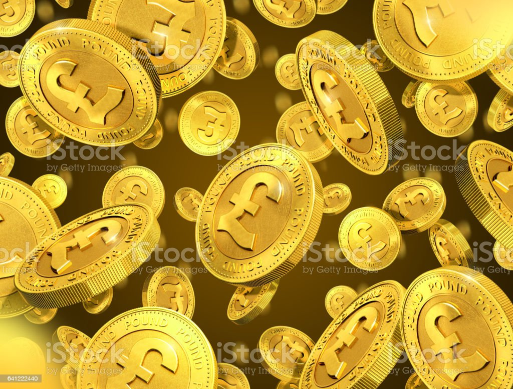 Falling gold coins with pound sign. 3d rendering vector art illustration