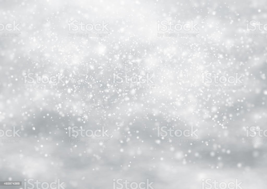 Falling snow on the blue background vector art illustration