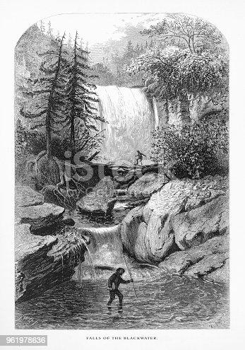 Very Rare, Beautifully Illustrated Antique Engraving of Falls of the Blackwater, Randolph County, West Virginia, United States, American Victorian Engraving, 1872. Source: Original edition from my own archives. Copyright has expired on this artwork. Digitally restored.