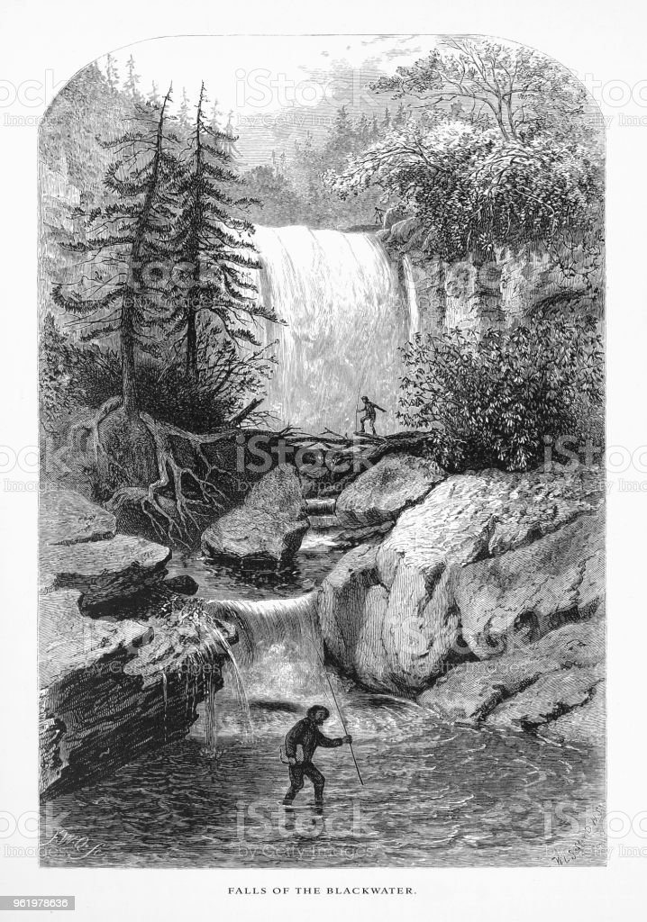 Falls of the Blackwater, Randolph County, West Virginia, United States, American Victorian Engraving, 1872 vector art illustration