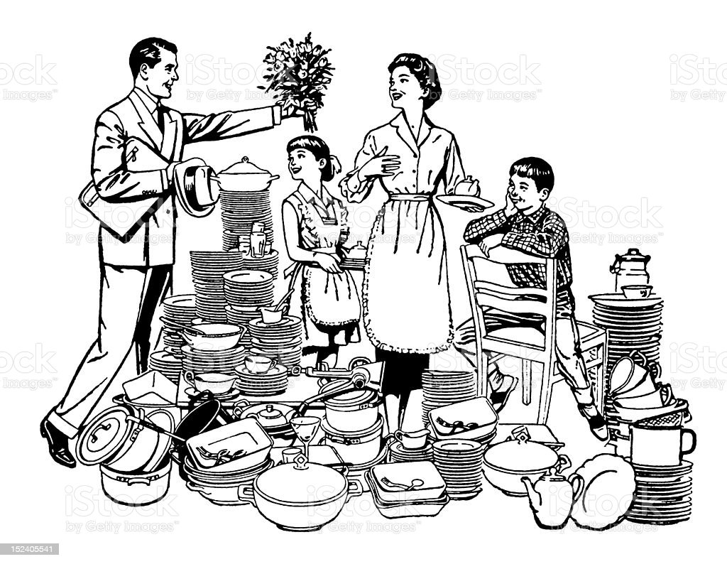 Family Among Kitchen Items royalty-free stock vector art