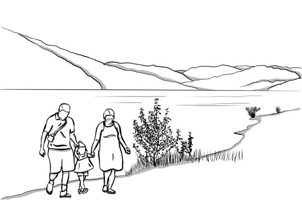 Family At The Lake peaceful nature scene with a family walking by the lake with hills in the background lakeshore stock illustrations