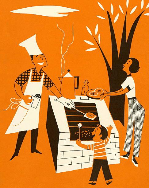 Barbecue en famille - Illustration vectorielle