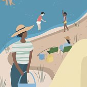 istock Family camping illustration. New social distancing. 1258055541