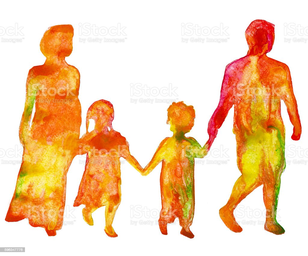 Family. Colored silhouette of people. Isolated on a white background. royalty-free family colored silhouette of people isolated on a white background stock vector art & more images of art