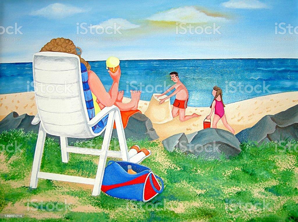 Journée en famille à la plage - Illustration vectorielle